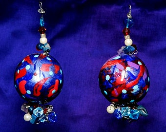 OOAK Hipster Neon Bright Color Block Wacky Ball Earrings