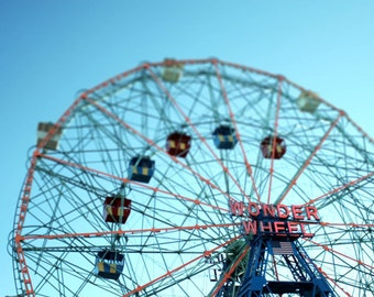 Coney Island Photo, Wonder Wheel Photo, Ferris wheel photo, Brooklyn photo - 8x10 fine art photograph