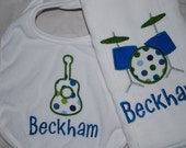 Boys Bib and Burp Cloth Set- Guitar and Drums with Monogrammed name