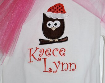 Christmas Owl T-Shirt for Girls- with name