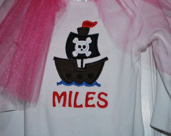 Boy's Pirate Ship Onesie/T-Shirt
