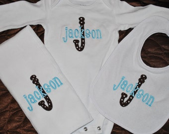SALE!!! Baby Gift Set- Monogrammed Burp Cloth, Bib, Bodysuit