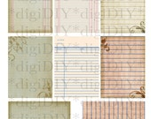 digital collage sheet - antique aged vintage printable paper for ATC ACEO backgrounds, journaling spots, tags and more
