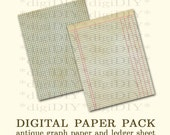 "digital antique vintage ledger and grid graph printable paper download - 8.5x11"" actual size - for scrapbooking, photo overlays, art, more"