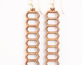 Stretched Honeycomb, Laser Cut Earrings