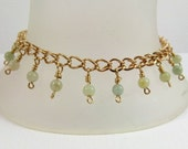Handmade gold filled chain bracelet with hanging semi precious beads