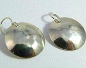 sterling silver convex circular earrings