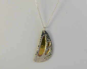 Free-form silver and brass pendant - item 5