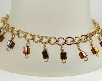 Bracelet - gold filled, hand formed links, brass cube beads