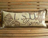 LSU Tigers pillow with tiger print fluer del lis, 10 inch x 24 inch, hand painted