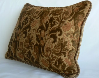 "Pillow 18, Chenille, 14"" x 18"" pillow, brown and rust with self cording"