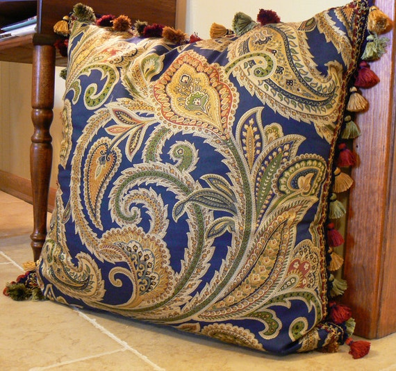 Pillow 10, 24 inch square, navy blue paisley pillow with tassel finge