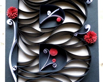 Paper Quilled Initial B - Wall Decor - 8X10
