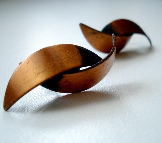 70s Copper Screwback Earrings