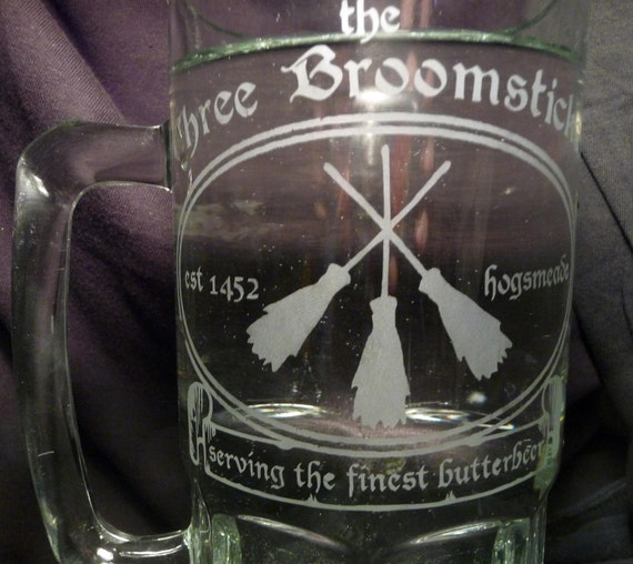 HUGE 1 Liter Glass Mag- Three Broomsticks- Perfect for Butterbeer