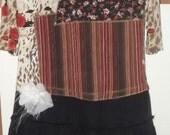 Roses and stripes boho dress, hippie style, upcycled, eco