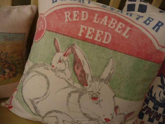 Rabbit Feedsack Pillow Cover, Bunny Grain Sack Pillow Cover - Reproduction