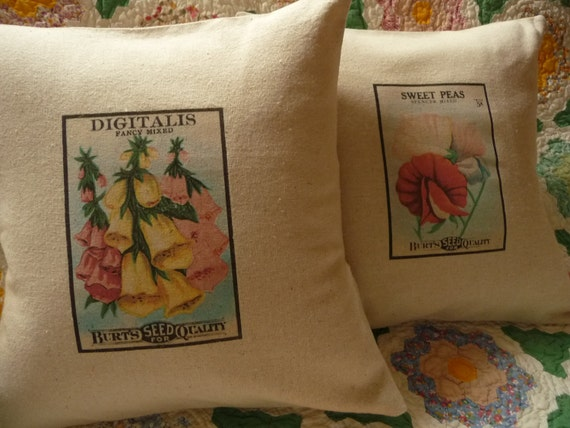 """Garden Pillow Cover - Cottage Chic Pillow Cover - Seed Packet Pillow Cover - Digitalis Foxglove Pillow Cover - 12"""""""