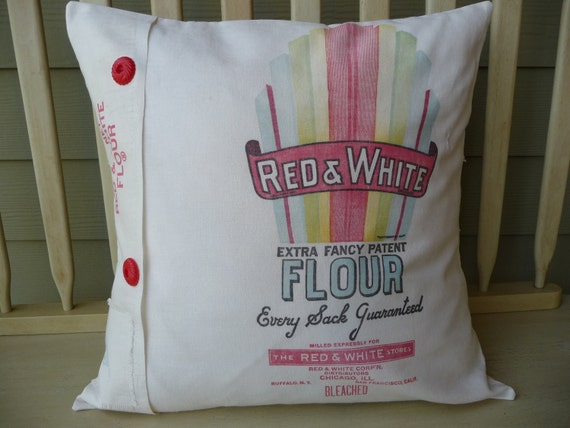 Vintage Floursack Pillow Cover - Feedsack Pillow Cover - Red & White Stores