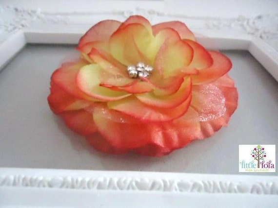 Special Listing for Nicole - Girls Hair Clip Gift Baby girl flower hair clip - orange vintage style - U buy WE donate