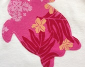 Baby Girl Onesie with Appliqued Pink Hawaiian Turtle
