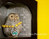 CUSTOM ORDER YELLOW Sunshine Turquoise Owl Yellow Howlite Owl Pendant with Simulated Turquoise Accents