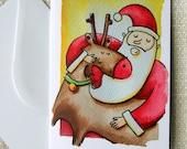 Santa and Rudolph - Christmas greeting card
