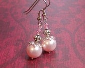 Pink Pearl Earrings, Precious Pink Pearl Earrings, Pink Pearl and Silver Earrings