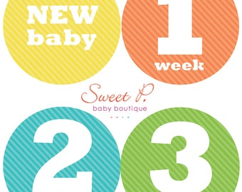 Neutral Newborn first 4 weeks milestone stickers