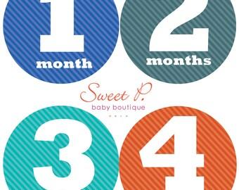 Baby Boy Monthly Stickers onsie bodysuit milestone sticker