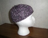 CLEARANCE Purple  White and Grey Knit Cap