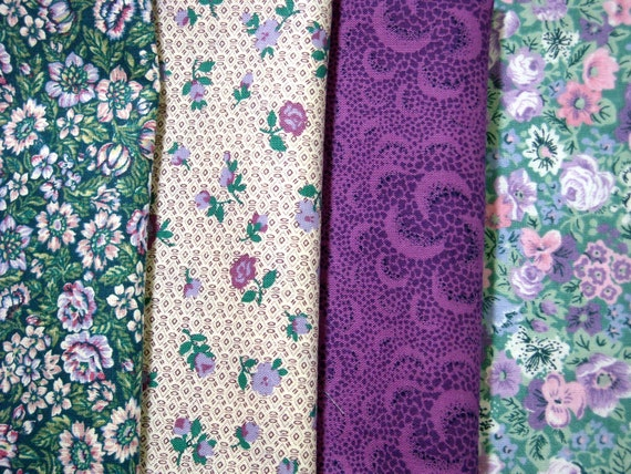 4 Fat Eighths..Mostly Vintage..Shades of Lavendar, Purple and Green...Cotton Quilting and Sewing Fabrics...