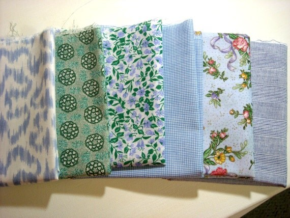 6 Fat Eighths..Mostly Vintage..Pastel Shades of Blue and Green with White....Cotton Quilting and Sewing Fabrics
