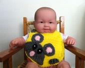 Crochet Bib Sneaky Little Mouse Yellow...Ready to ship