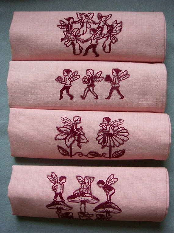Pink Cotton Napkins, Set of 4, with Handmade Cross Stitch Bee Fairies