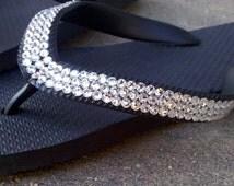 Swarovski Crystal Rhinestone Embellished Black Flip Flops, Size 5, 6, 7, 8, 9, 10, 11, 12 & Child, High Quality Rubber