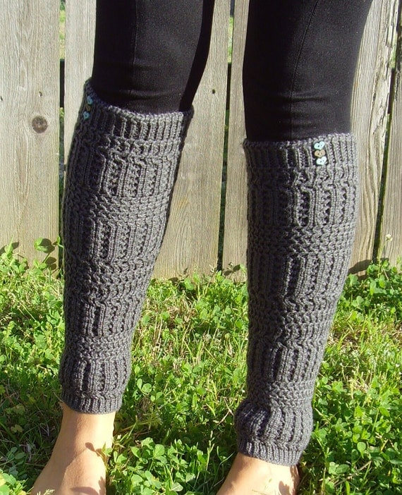 Leg Warmers - Turquoise & Brown Heart Buttons on Grey Knit Design,  Knee High