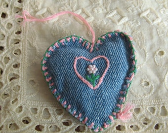 signed original Denim Heart Faux Pearl Flower handmade