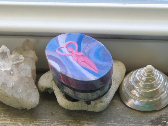 Love Your Goddess Self  papier mache spiritual trinket treasure box, free shipping