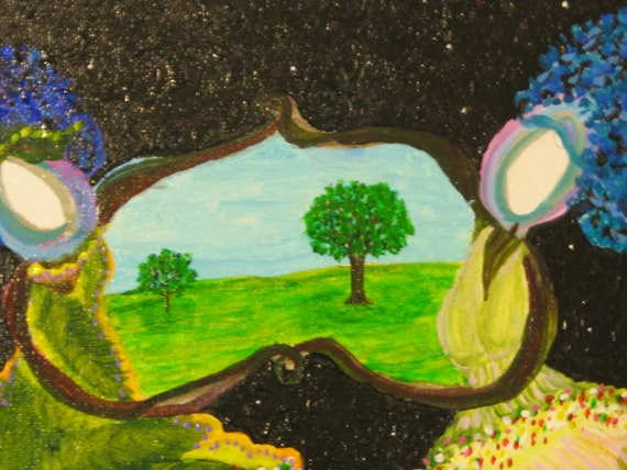 signed original The Elm Sisters Embrace Tree Heaven