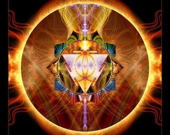 Manipura Chakra Mandala, Solar Plexus Chakra, Spiritual Art, Psy Art, Visionary Art, printed on archival photopaper