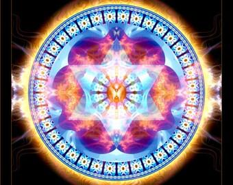 Original Mandala Harmony, Spiritual Art, Psy Art, Visionary Artprint on archival photopaper