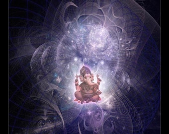 Ganesh, Hindu God of Joy, Spiritual Art, Psy Art, Visionary Art printed on archival photopaper