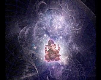 Ganesh, Hindu God of Joy, Spiritual Art, Psy Art, Visionary Art printed on archival photopaper