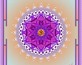 Original Mandala White Aum, Om, Spiritual Art, Psy Art, Visionary Art printed on archival photopaper