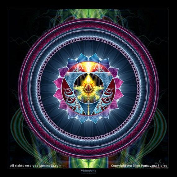 Original Mandala Vishuddha Chakra, Throat Chakra, Spiritual Visionary Art printed on photopaper