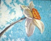Sky Flower Original Acrylic Textured Painting on Canvas (Daffodil, Nature, Blue, Orange)