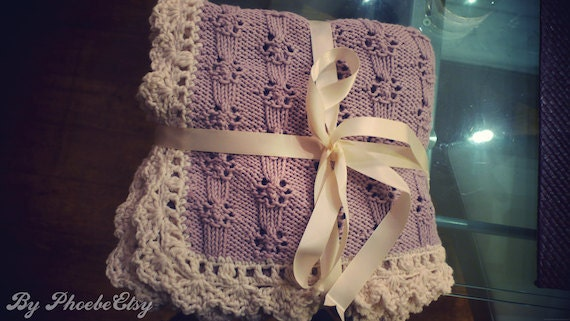 Hand Knit and Crochet Baby Blanket in Cotton