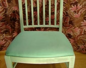 AQUA TURQUOISE CHAIR - Side Chair Textured Sheer Fabric Turquoise and White