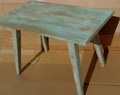CLEARANCE -  Fabulous Side Table Rustic Mid Century Tapered Legs Distressed Grey Turquoise with Gold Highlights Primitive
